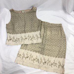 Tyler Boe Vintage Shirt AND Skirt SET 100% Linen